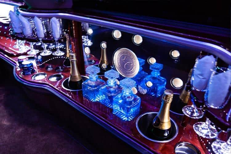 inside of limo drinks coventry limos